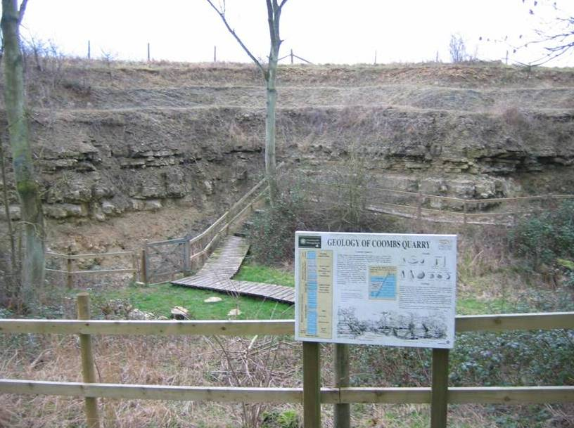 Coombs Quarry - exposes the upper part of the Blisworth Limestone and all the Blisworth Clay Formation.